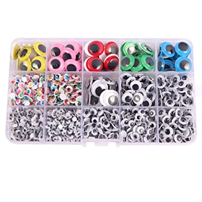TOYANDONA 1 Box Wiggle Googly Eyes Round Wobbly Eyes DIY Animals Doll Eyes Scrapbooking Crafts Toy Accessories Crafts Decorations 4/5/6/8/15mm Colorful: Office Products