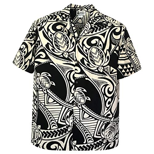 Aloha Republic 2XL Black Maori Tribal Tattoo Men's Hawaiian Shirt