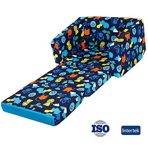MallBest Kids Sofas Children's Sofa Bed Baby's Upholstered Couch Sleepover Chair Flipout Open Recliner (Blue/Jungle) by MallBest (Image #1)