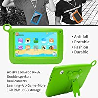 NPOLE Kids Tablets Android 7 Inch 1280x800 IPS Display with Parental Control Software - iWawa RAM Wifi Camera 3D Game HD Video Supported Green from NPOLE