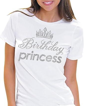 7be8cab8 Birthday Princess Rhinestone Birthday Tee - Birthday Girl T-Shirt - Party  Gift at Amazon Women's Clothing store: