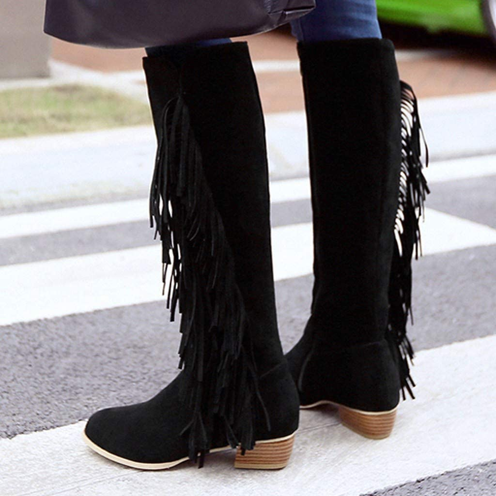 Damen Winter Stiefel 2019 Frauen High-Tube Stiefel Casual Quaste Seitlichem Rei/ßverschluss Damen Schuhe Stiefel Large Size Wild Ausgehen Basic Warm Wadenl/änge Kniel/änge Stiefel