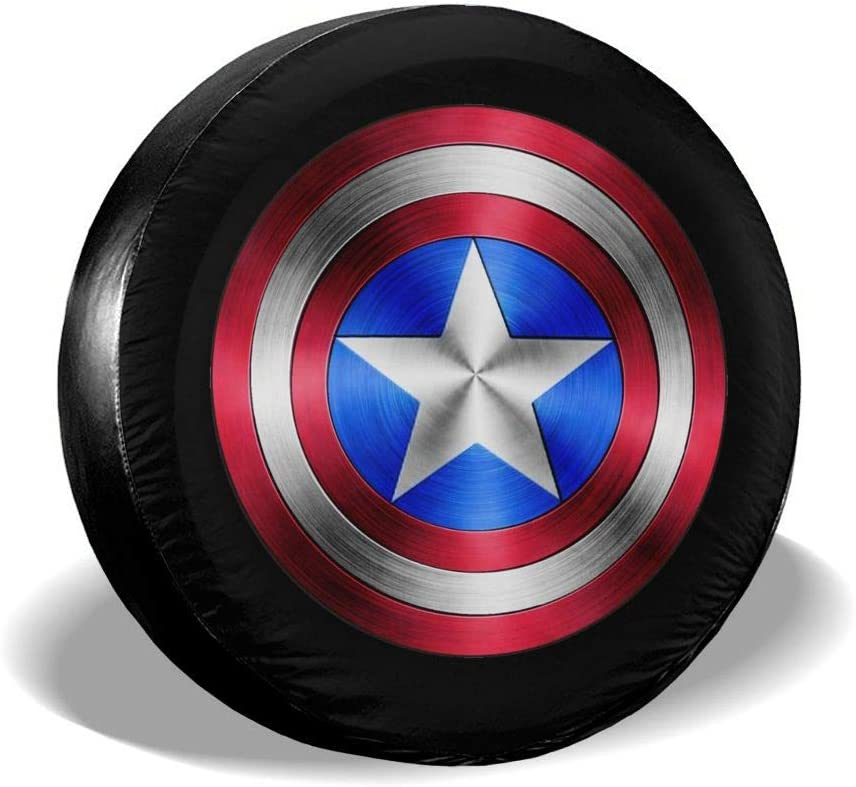Trailer,RV,SUV,Truck and Vehicle Wheel 14 15 16 17 66JR Spare Tire Covers Captain America Print Wheel Tire Cover Weather-Proof Universal Fit for Jeep