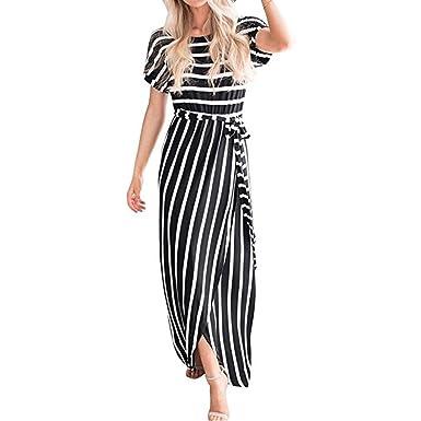 ff0376fdc1 iQKA Women Striped Front Slit Flowy Long Dress Casual Belt Short Sleeve  Maxi Sundress at Amazon Women s Clothing store