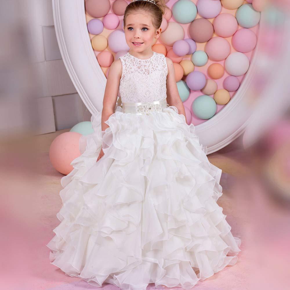 2-3T Melodycp GÂteau pour Enfants, Robe de mariée Moelleux, Fille de Fleur, représentation sur scène, Robe de mariée de Bal (Taille   12-13T)
