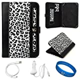 Dauphine Edition White Leopard Executive Leather Folio Case Cover for Amazon Kindle Fire 7-inch Multi Touch Screen Tablet – 8GB Android Wireless (Wifi) Tablet + White Micro USB Car Charger + White Micro USB Sync Data Cable + SumacLife TM Wisdom Courage Wristband, Best Gadgets