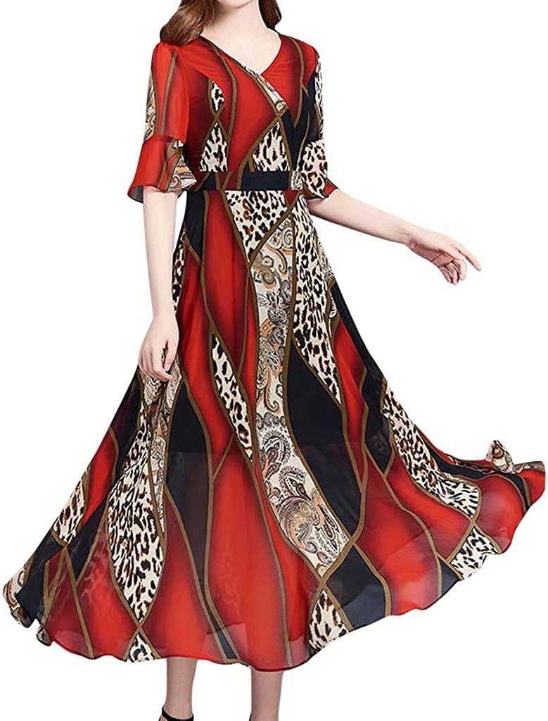 Rikay Vintage Print Dress Womens Casual Short Sleeve Flared Swing Midi Dress Elegant V Neck Tunic Dress Plus Size M-XXXL