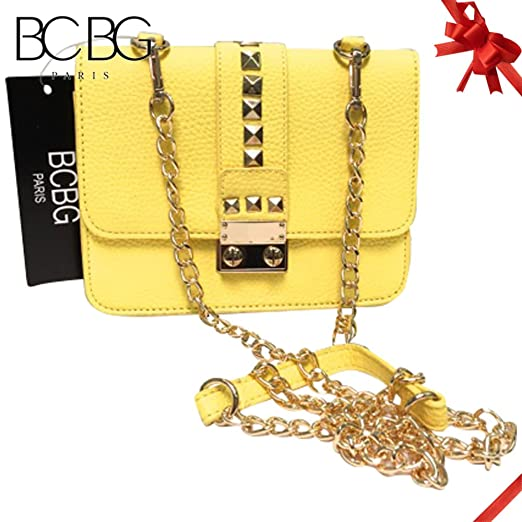 f258be4174 Image Unavailable. Image not available for. Color  BCBG Paris Womens Caviar  Faux Leather Mini Crossbody Handbag Yellow Small