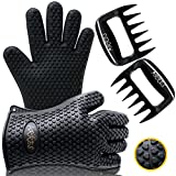 Arres Barbecue Gloves & Pulled Pork Claws Set - Silicone Heat Resistant Grilling Accessories & Home Kitchen Tools For Your Indoor & Outdoor Cooking Needs - Use as BBQ Meat Turner or Oven Mitts