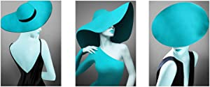 Fashion Women with Hat Wall Art Contemporary Modern Dress Wall Decor Blue Lip Canvas Prints Stylish Feminine Framed Painting Picture for Living Room Bedroom Office Decoration Ready to Hang Size 16X24inch