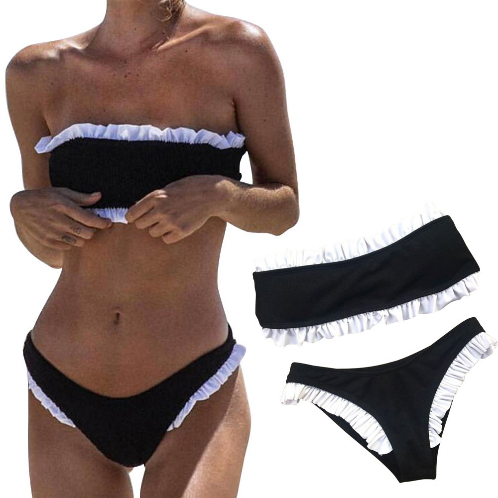 cd56344fe1366 LAPOPNUT Women Ruffle Push up Tube Bra Bikini Set Solid Bandeau Beach Swimsuit  Bathing: Amazon.co.uk: Clothing