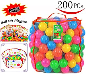 Pack of 200 Plastic Pit Balls with Foldable Ball Pit Playpen – BPA Free 6 Bright Colors Crush Proof Phthalate Free Pit Balls with Ball Pit in a Durable Mesh Bag with Zipper by Joyin Toy