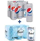 Diet Pepsi Carbonated Soft Drink (Cans), 330ml x 6 + Britvic Soda Water, 300ml x 6