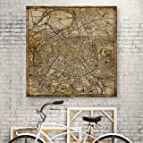 new york and paris wall art - WallDeco Unique Vintage Kraft New York City Map Canvas Wall Art Retro Map of the New York on Canvas Prints Framed and Stretched for Bedroom Bar Decorations Ready to Hang 24x24 inch