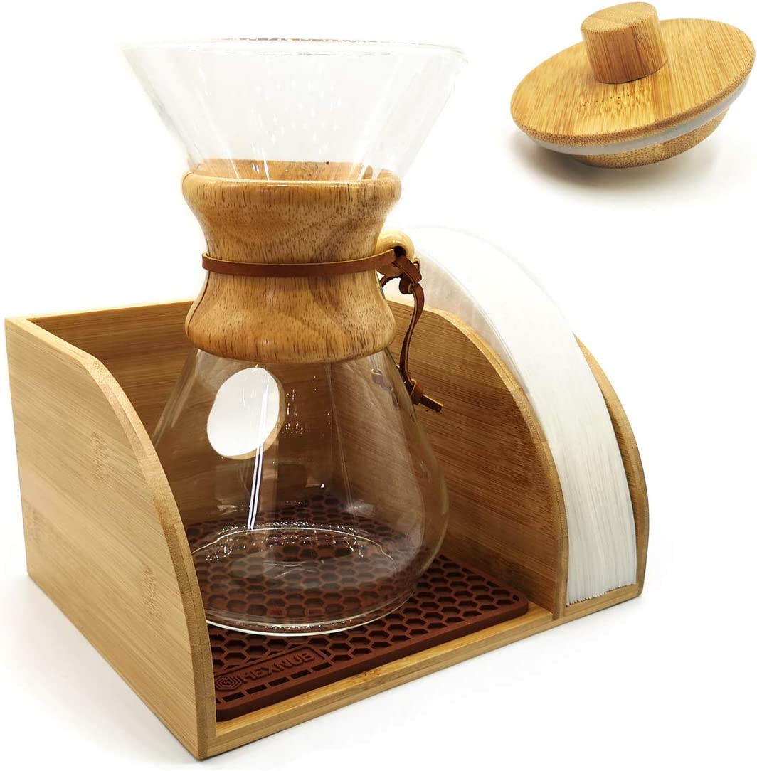 Coffee Stand with Chemex Lid Hexnub Coffee Organizer Stand for Chemex Filtered Coffee Maker Premium Bamboo Caddy Station Holds Pour Over Coffee Maker and Filters with Brown Dripper Mat