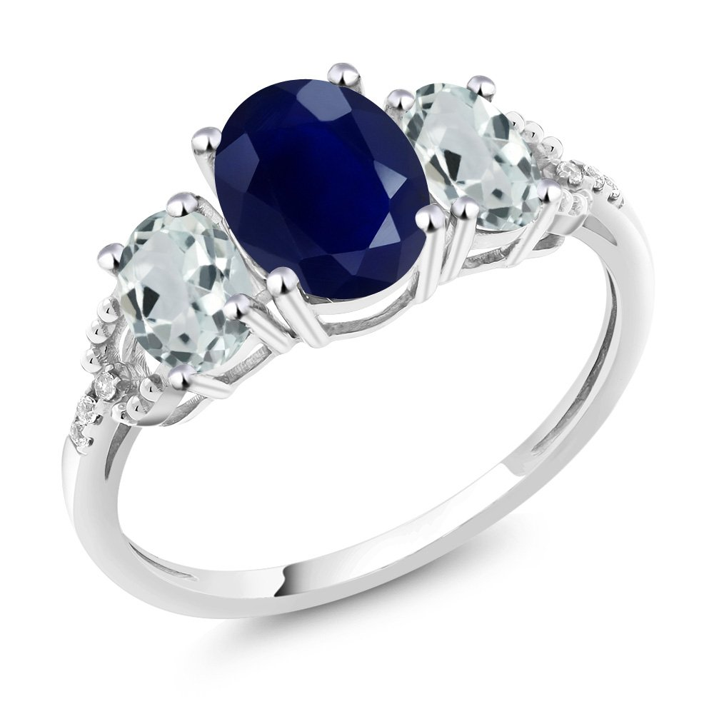 Gem Stone King 10K White Gold Diamond Accent 3-Stone Engagement Ring set with 2.70 Ct Oval Blue Sapphire Sky Blue Aquamarine (Size 8) by Gem Stone King