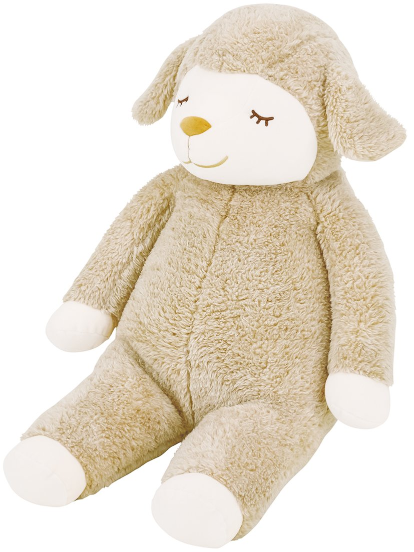 LivHeart Sleepy head Animals Body Pillow Cushion Plush Sheep Lamb Beige 'Maple Lop' size L (9''x9.5''x28'') Japan import 48122-13 Comfortable Huggable Super Soft Stuffed Toy