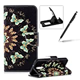 Wallet Leather Case for LG Stylus 4/Stylo 4,Flip Case for LG Stylus 4/Stylo 4,Herzzer Stylish Premium Blue Butterflies Printed Magnetic Stand PU Leather with Inner Soft Rubber Case