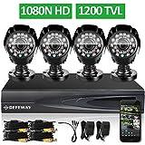 DEFEWAY 1200TVL 720P HD Outdoor Home Security Camera System 4CH 1080N HDMI DVR CCTV Video Surveillance Kit AHD Camera Set