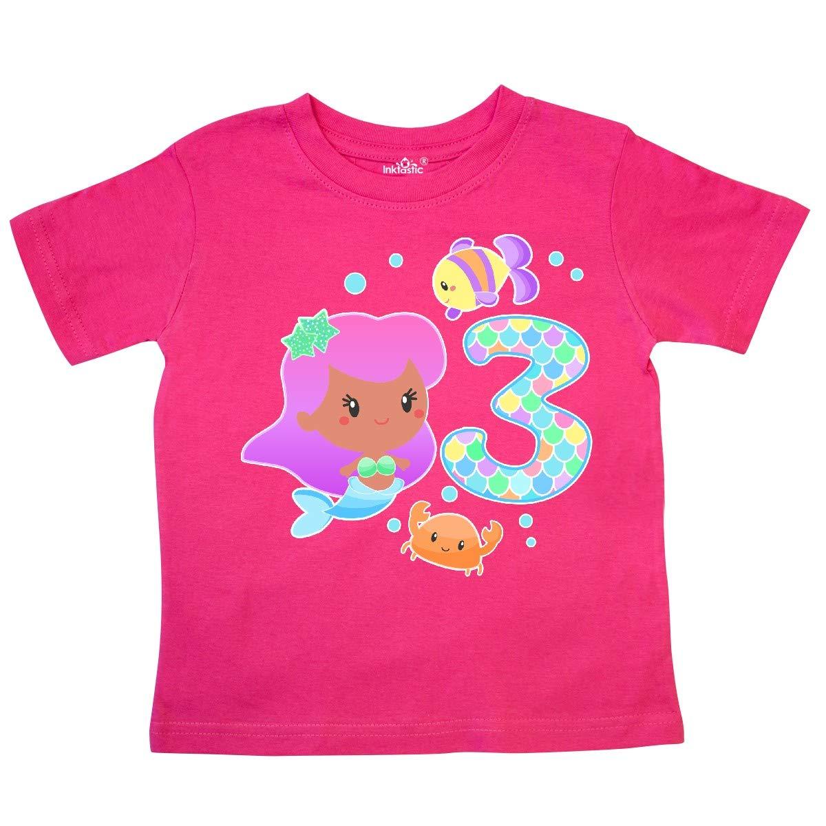 inktastic Third Birthday Mermaid with Fish and Crab Toddler T-Shirt