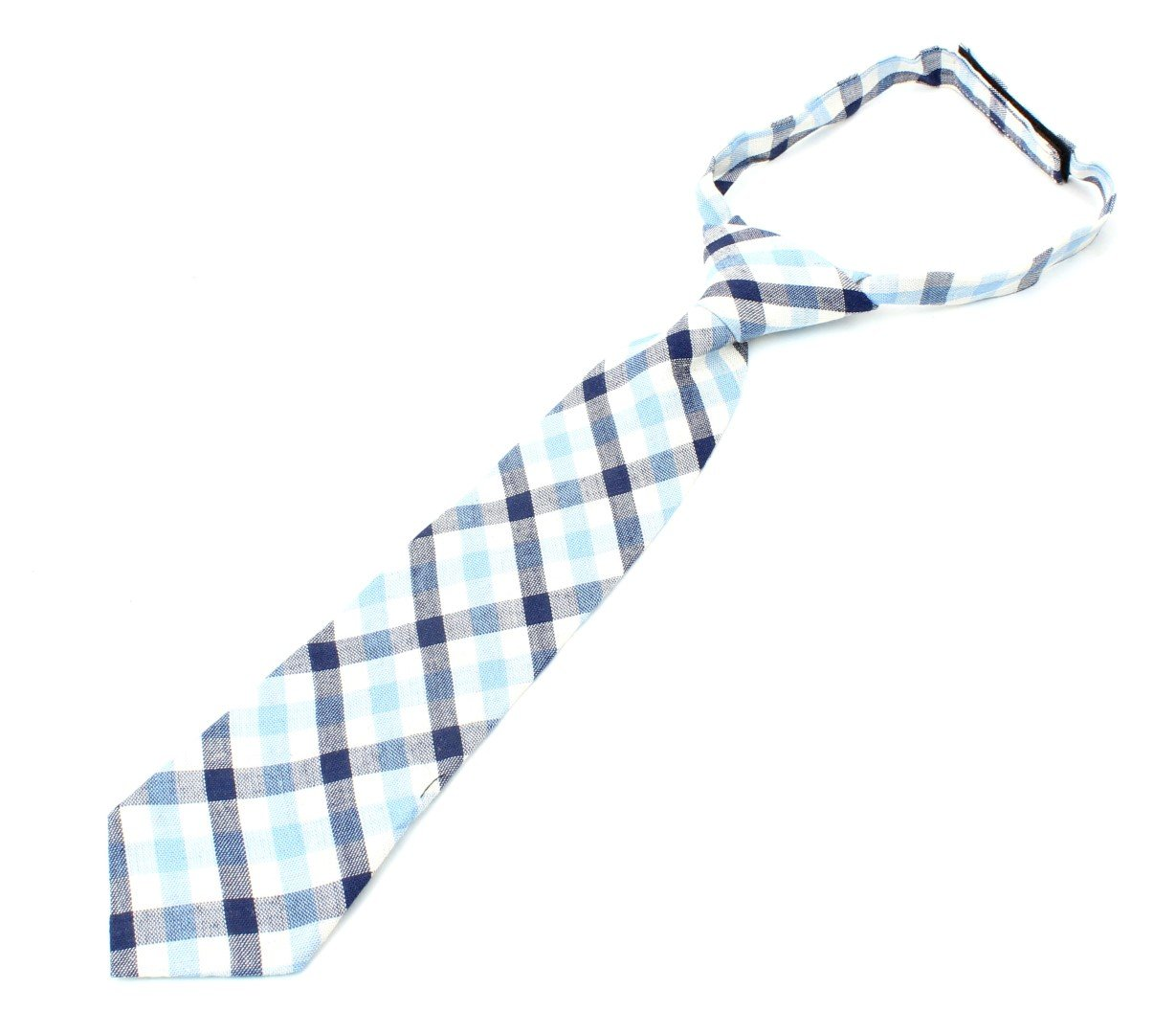 Kids Cotton Formal Necktie Tie Modern Checker Gingham Pattern Light Bright Colors - Blue/Magenta/White
