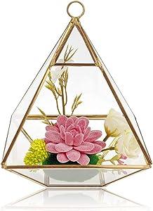 TANOKAY Artificial Succulents Set, Golden Pyramid Shape Geometric Terrarium Faux Plants Set Home Tabletop Decor Air Plants Garden Gift Pink Aloe