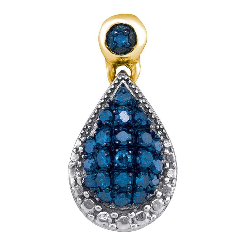10kt Yellow gold Womens Round bluee color Enhanced Diamond Teardrop Cluster Pendant 1 6 Cttw