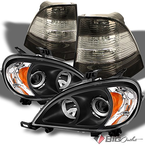For 1998-2001 Mercedes-Benz ML-Class W163 Black Projector Headlights + Smoked Clear Tail Lights 1999 2000