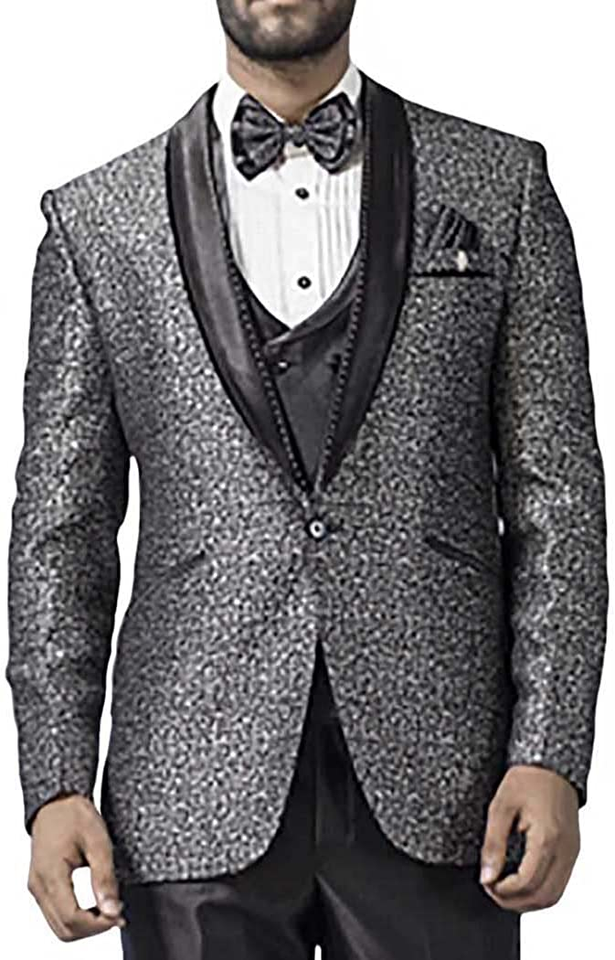 INMONARCH Hombres 7 Pc Smoking traje gris con un botón exclusivo ...