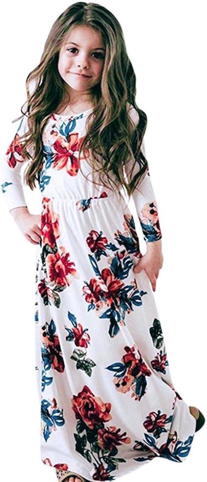 Mädchen Kleider Festliche Kindermode Kleider Longra Mädchen Blumen Kleid  Langarmshirt Kleid Schöne Lange Maxikleid Frühjahr-Sommer Kinderkleidung