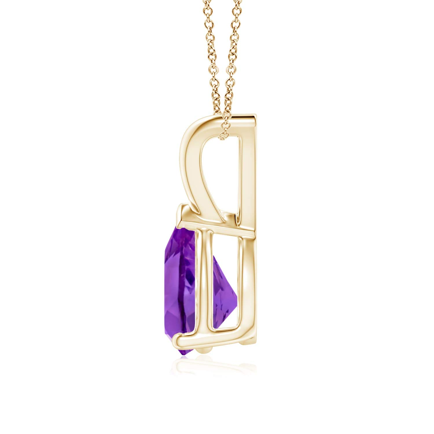 8x6mm Amethyst V-Bale Pear-Shaped Amethyst Solitaire Pendant