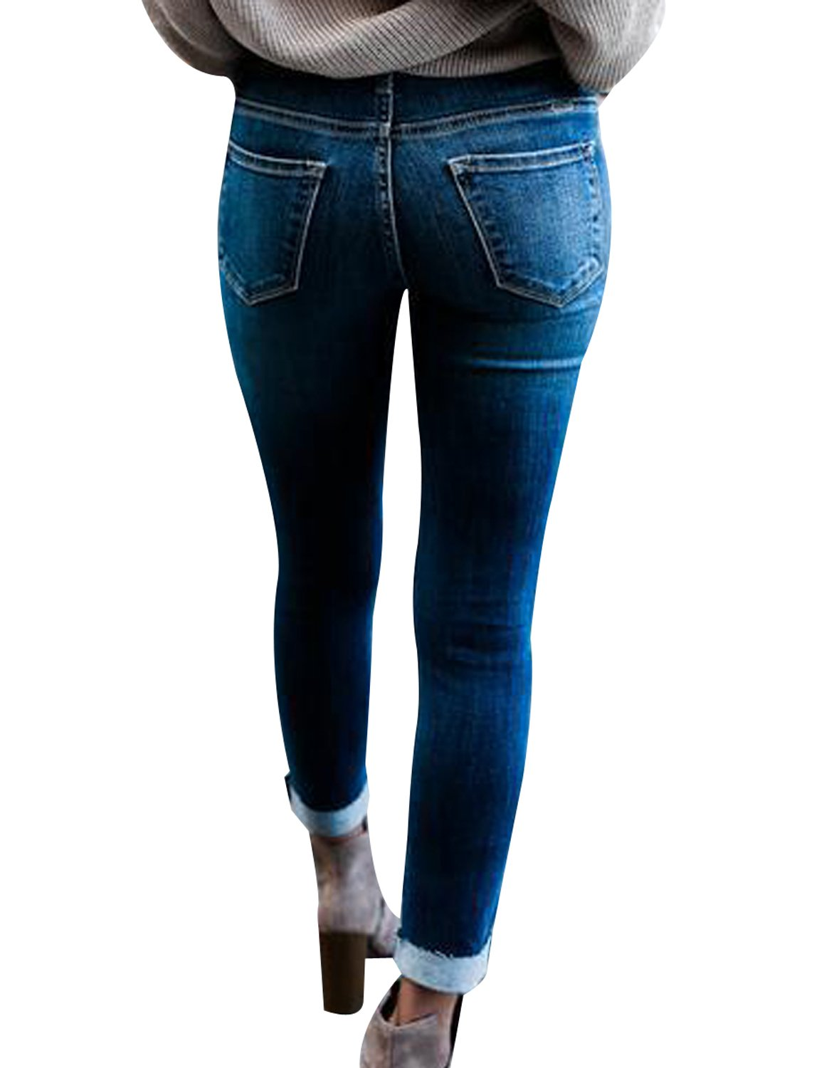 Ladies High Waisted Blue Womens Skinny Fit Jeans Stretch Denim Jegging Size 8-14
