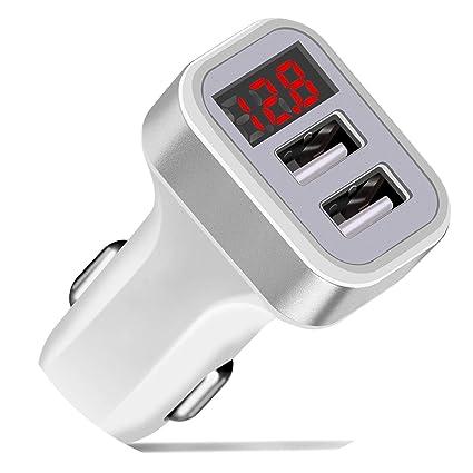3.1A 2 Puertos USB Cargador de Coche Adaptador de Carga R/ápida de Pantalla LED para Tel/éfono M/óvil