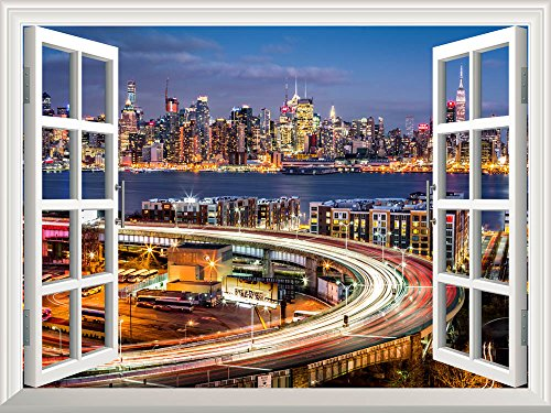 Wall26 Removable Wall Sticker / Wall Mural - City Traffic Lights at Night with the New York Skyline   Creative Window View Home Decor / Wall Decor - 36