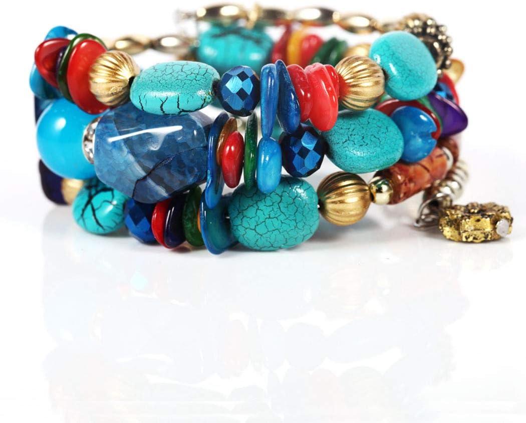 Bohend Boho - Pulsera de cuentas de color turquesa con cuentas elásticas de cristal bohemio para mujeres y niñas