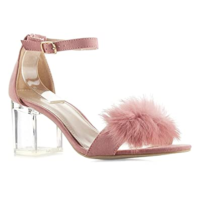 53749646db7e0e WestCoast Chunky Block Heeled Sandals Women s Faux Fur Ankle Strap Lucite  Clear Heel Dress Sandals