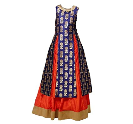 31cc1ade0a White Button Girl's Navy Blue Jequard Silk N Orange Silk Lehenga Indo  Western Style Readymade Wedding