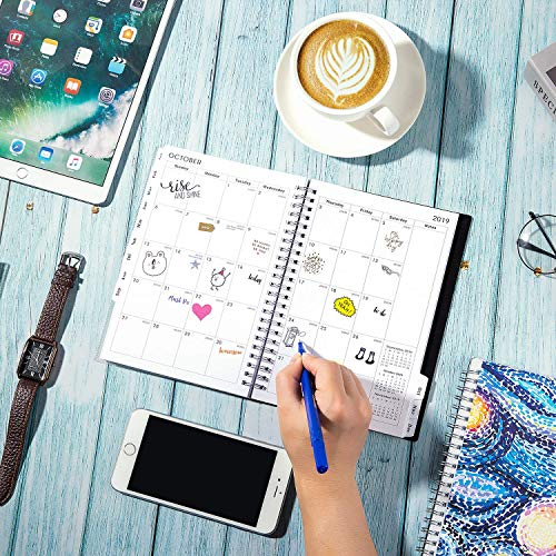 2019 Planner - Planner 2019, Weekly & Monthly Planner, 12 Monthly Tabs, Twin Wire Binding, Clear Cover Pockets, 5