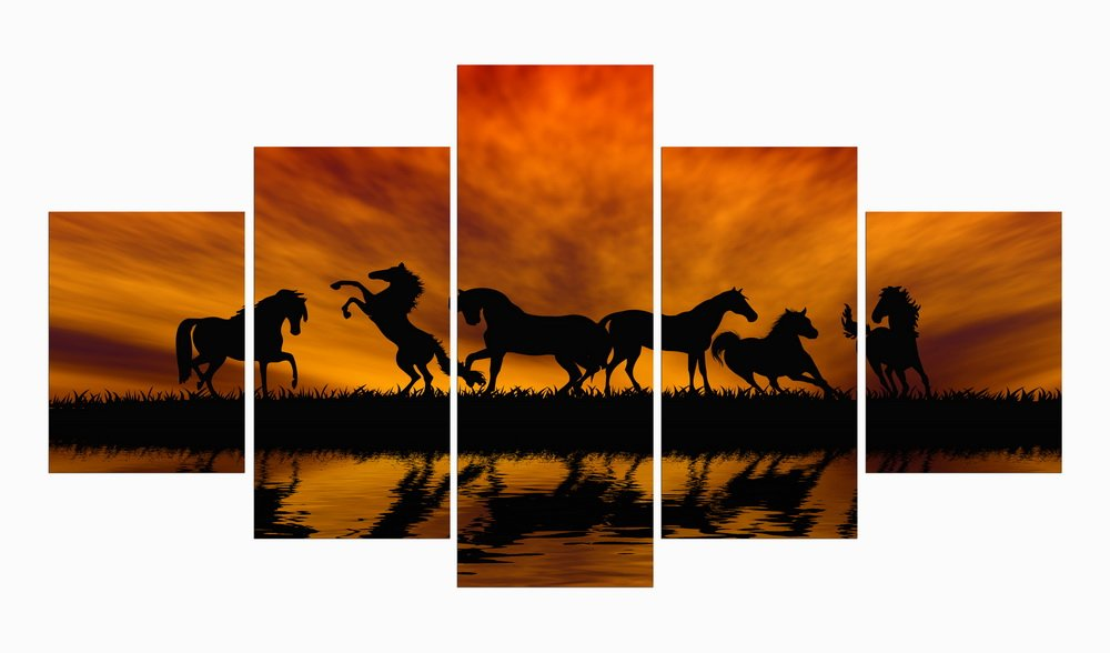 5 Panel Modern Horse Animal Oil Painting Canvas print for Home Décor No Frame HappyHouseArt