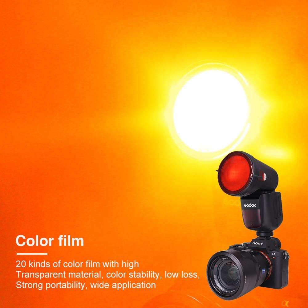 Pergear 20 Pcs Color Correction Gel Light Filter with Diffuser,2.95 Inch Compatible with Godox V1 Series V1-C,V1-N,V1-S,V1-O,V1-P,AD200 AD200PRO with H200R Ring Flash Head and Other Round Head Flash