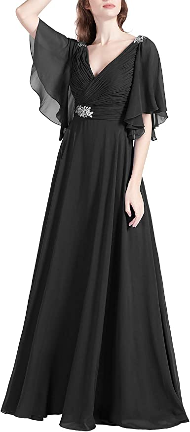 MACloth Women V Neck Formal Evening Gown Short Sleeves Mother of The Bride Dress