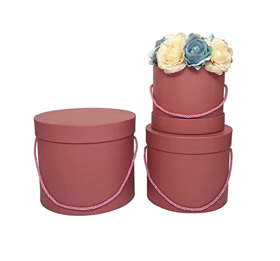 Amazon.com: 6cys six Color Choose 3PCS/Set Florist Packing Gift Flowers/Chocolate Box Round Box,Pure Color Without Printing,Florist Bouquet Wedding Party ...