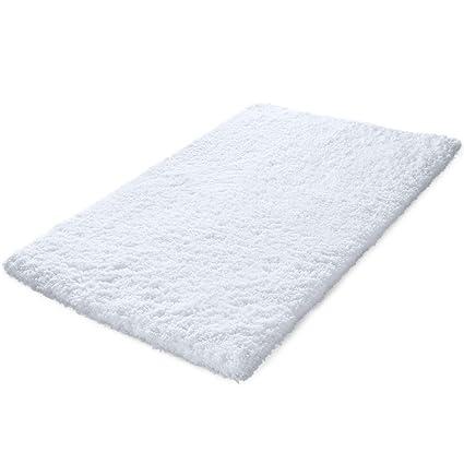 Amazoncom KMAT X Inch Large Luxury White Bath Mat Soft Shaggy - Large white bathroom rugs