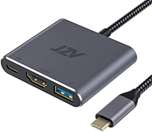 USB C to HDMI Adapter, JZV Digital AV Multiport Adapter, USB 3.1 Type C Adapter Hub to HDMI with 4K HDMI Output, USB 3.0 Port and USB-C Charging Port, Compatible for MacBook Pro, MacBook Air 2020
