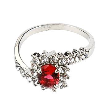 Challyhope Anillos de compromiso para mujer, exquisito amor, chapado en plata con diamantes falsos, anillo de compromiso: Amazon.es: Hogar