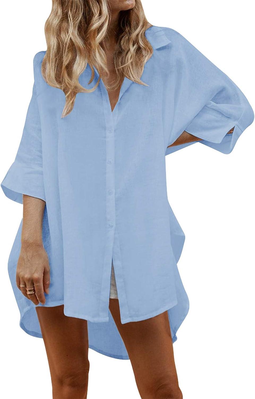 Auxo Mujeres Sexy Botón Suelto con Cuello en v Camiseta de Manga Larga Casual Irregular Oversized Long Tops Blusa