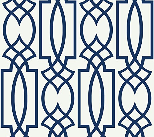 York Wallcoverings CM2383 Watercolors Lattice Wallpaper, White/Navy