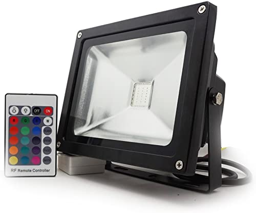 10 Watt Commercial Colored RGB LED Flood Light – 16 Colors – Dimming – Remote – Waterproof – 4 Lighting Modes