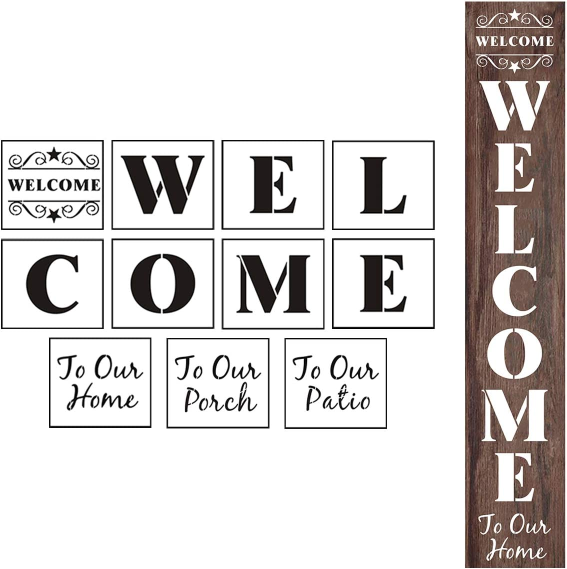 Welcome Stencils for Painting on Wood - 11 Pack Large Vertical Welcome Sign Stencil Templates for Wood Signs, Reusable Letter Stencils for Home, Patio, Porch Signs & Front Door Decorations