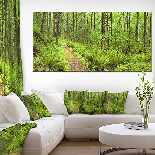 "Design Art 1 Piece Lush Forest Path Columbia River Forest Canvas Wall Art Print, 60x28"" -  PT11137-60-28"